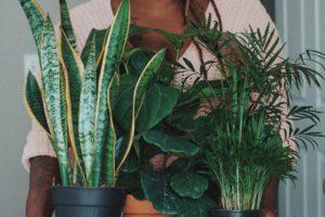 femme en pull rose qui porte 4 plantes qui aident à mieux dormir